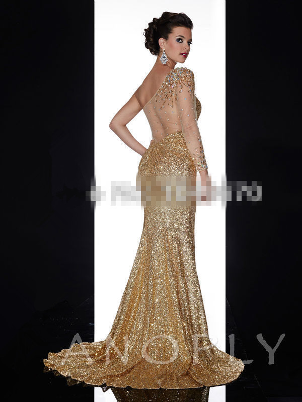 Aliexpress.com : Buy MZYE0059 one shoulder long sleeve gold sequin ...