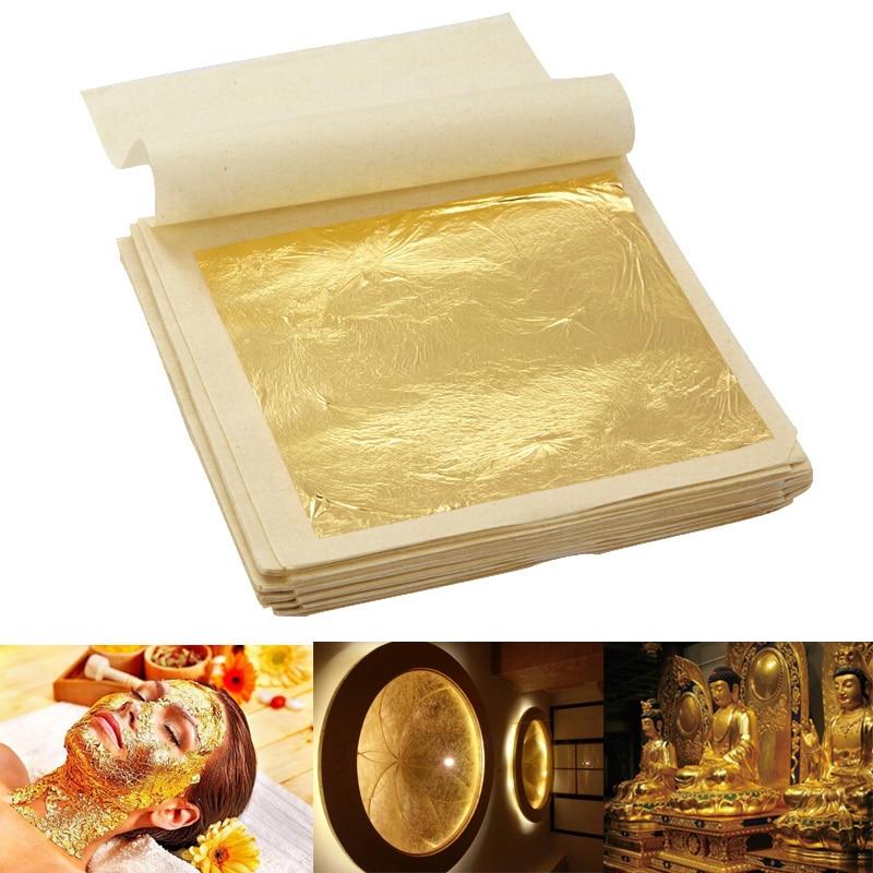4.33x4.33cm 5/10 Sheets Practical 24K Pure Real Edible Gold Leaf Foil Gilding Handicrafts Cake Decoration Face Beauty Mask