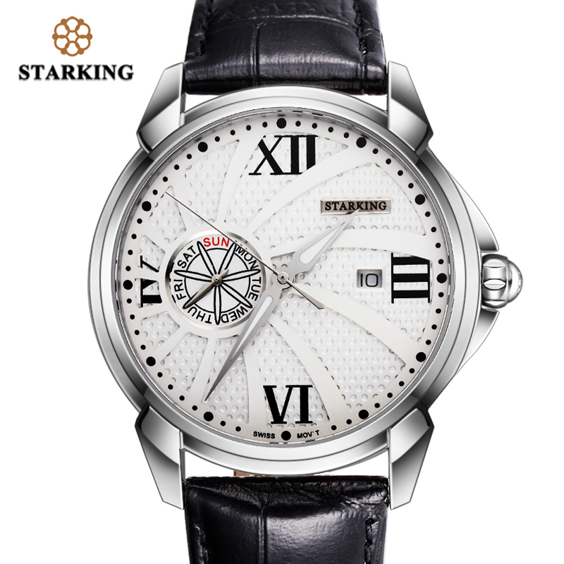 STARKING Fashion Men Watch Black 2019 Stainless Steel Luminous Hands Quartz Wrist Watch Male Clock Relogio Masculino Waterproof daybird stainless steel quartz wrist watch black 1 x lr626