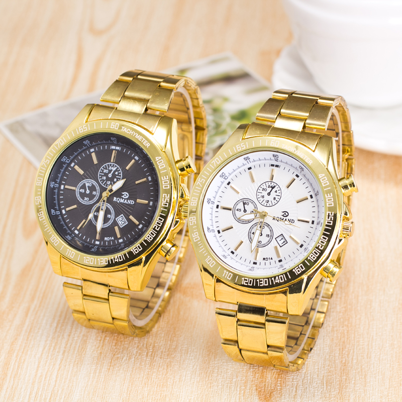 HOT Relogio Masculino Top Fashion Man Big Dial Watches Stainless Steel Business Calendar Alloy Quartz Watch
