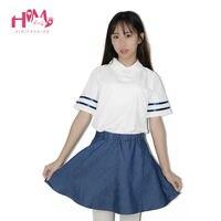Cao đẳng Xanh Đồng Phục Phù Hợp Với A-Line Xếp Li Váy Sọc Tay Áo Trắng Tops A Đặt Cô Gái Trẻ Mùa Hè Japanese Trường Mini Váy