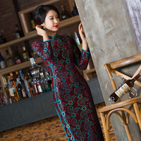 New Arrival Chinese Style Lady Lace Velour Qipao Traditional Long Cheongsam Vintage Dress Size S M