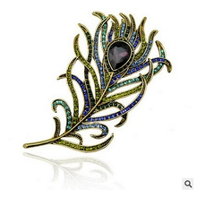 2016 New Vintage Large Rhinestone Peacock Feather Brooches For Women Pins Crystal Bouquet Jewelery Broach Gift, Item NO.: BH7943
