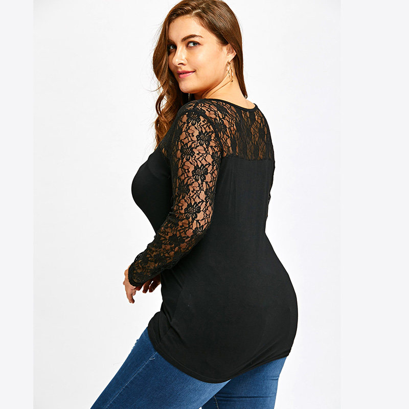 Lace Long Sleeves Tee Shirt Women Fashion Hollow Cotton Tshirt Femme 2019 Spring Casual Elastic Plus Size T Shirts Female XL 5XL in T Shirts from Women 39 s Clothing