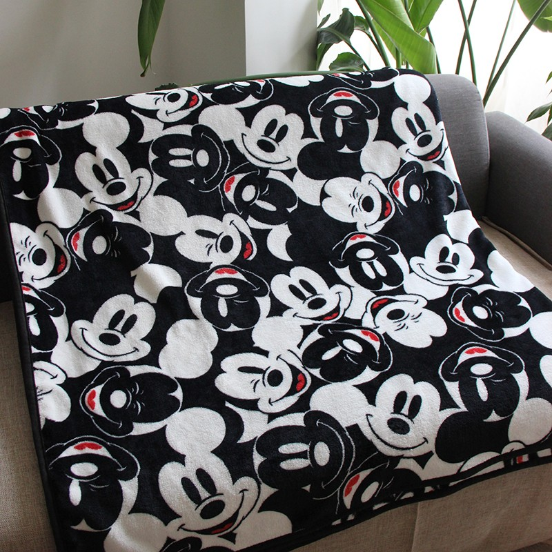 Disney Cartoon Black and White Mickey Mouse Lightweight Plush Blanket Throw for Children on Bed Sofa Couch 150X200CM Bedspread(China)