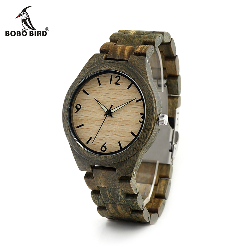ФОТО BOBO BIRD I18 Mens Wooden Watch Digital Dial Face Luminous Needle 20.4 cm Length Wood Band Classic Verawood  Watch Accept OEM