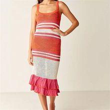 Tunic Beach Cover-ups Striped Crochet Women Ruffled knit midi dress
