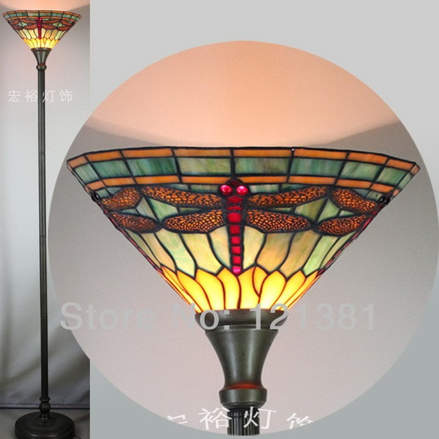 Tiffany Style Dragonfly Torchiere Lamp For Living Room Floor Uplight Stained Gl Lampshade Indoor Lighting W14