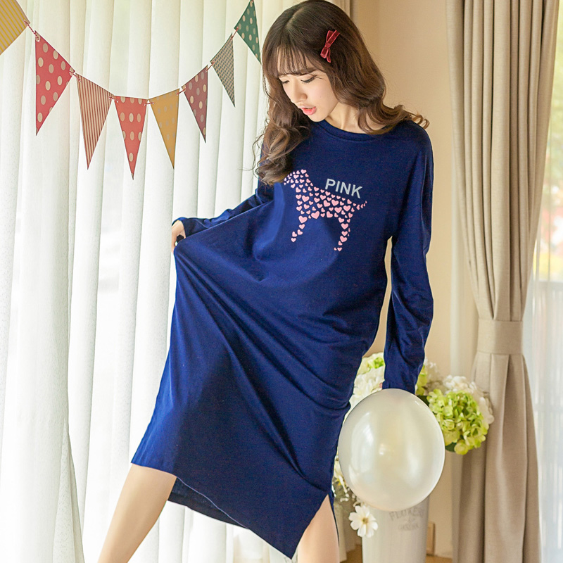 Spring Summer Women Sleepwear Cotton Nightgowns Loose Sleepshirt Long Sleeve Sleepwear Ladies T-shirt Dress for mujer Nightdress