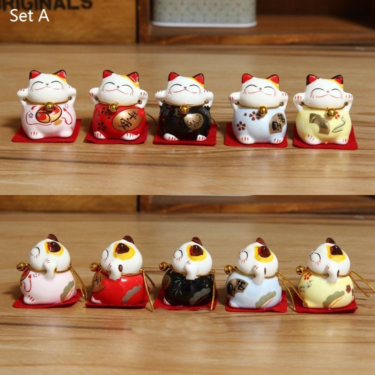 Maneki Neko Family Lucky Cat Solar Powered Japanese Chinese Good Fortune Home Car Decor In