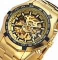 2017 Novos dos Esportes Dos Homens Relógios Top Marca de Luxo de Ouro Skeleton Automatic Relógios Mecânicos Homem Clássico relogio masculino W/CAIXA