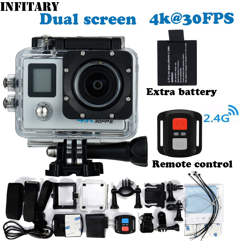 2x battery Mini Camcorder 24K Action Camera Dual Screen 4K Ultra HD 16MP WIFI Extre Sports Camara Go Waterproof pro Cam Style