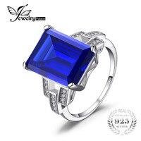 JewelryPalaceหรูหรามรกตตัด9.6ctสีฟ้าสร้างไพลินค๊อกเทลแหวนคริสตัลแท้925