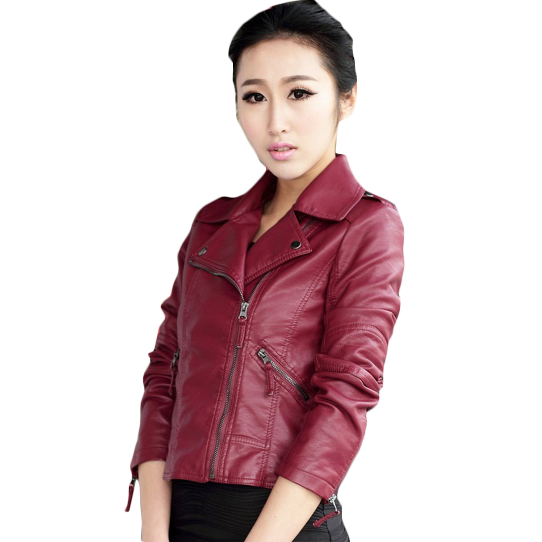 YJSFG HOUSE 2017 Fashion Faux PU Leather font b Jacket b font font b Women b