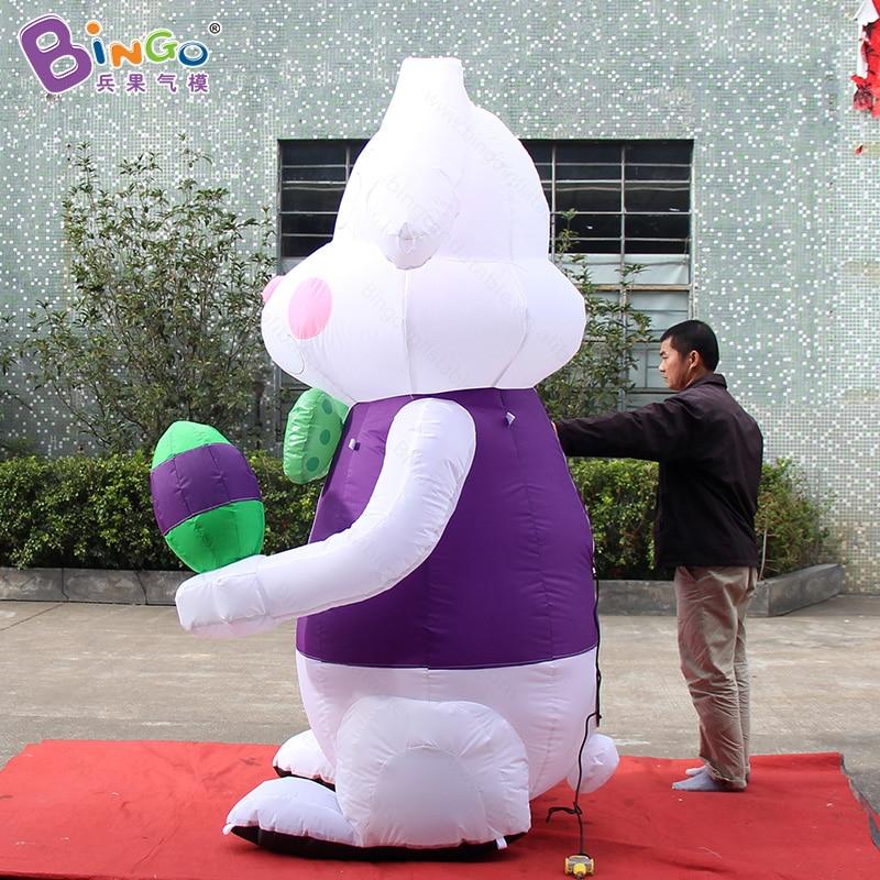 Пасхальный фестиваль 2,4 метров высокий большой надувной кролик с яичным заказным цифровым принтом надувной стоящий кролик игрушка Спорт - 3
