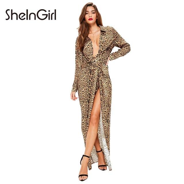 3a1686da8c SheInGirl Sexy Leopard Print Maxi Dress Women Clothing Deep V-Neck Split  Vestido Chic Brief