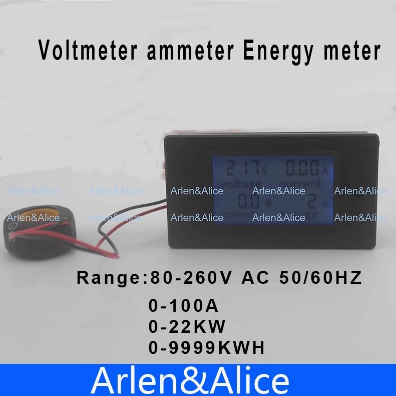 цена LCD 4IN1 100A Voltage current active power energy meter blue backlight panel voltmeter ammeter kwh 80-260V 50/60HZ Split CT