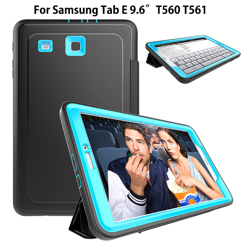 Shockproof Kids Safe Case For Samsung Galaxy Tab E 9.6 T560 SM-T560 T561 Cover Funda Tablet Armor Heavy Duty Silicone Hard Shell thick eva foam kids children safe rugged proof foam case handle stand for galaxy tab e 9 6 t560 kids shockproof tablet case