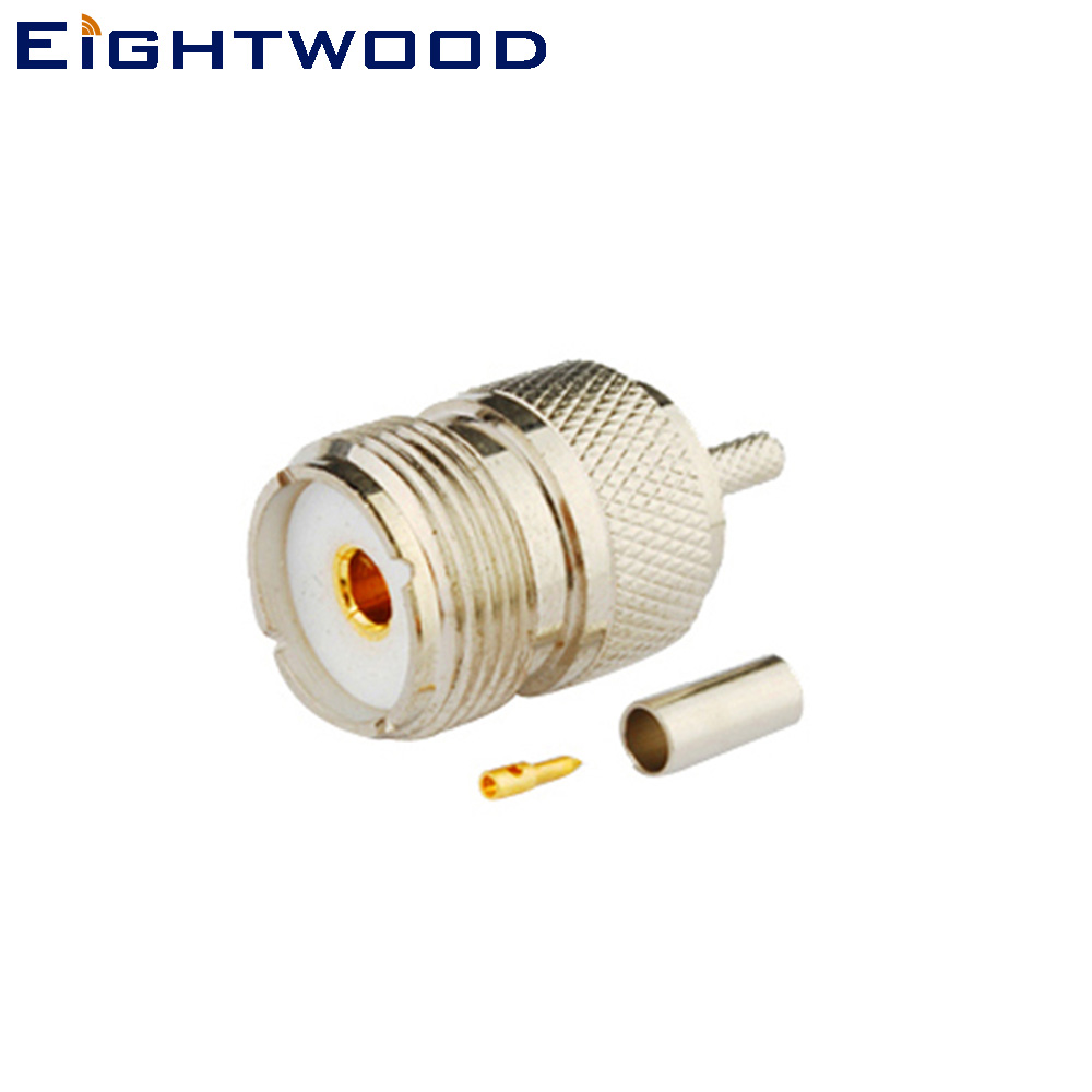 Eightwood 5PCS UHF/SO239 Jack Female RF Coaxial Connector Adapter Crimp LMR-100 RG174 RG316 RF Coax Cable For Antennas Military