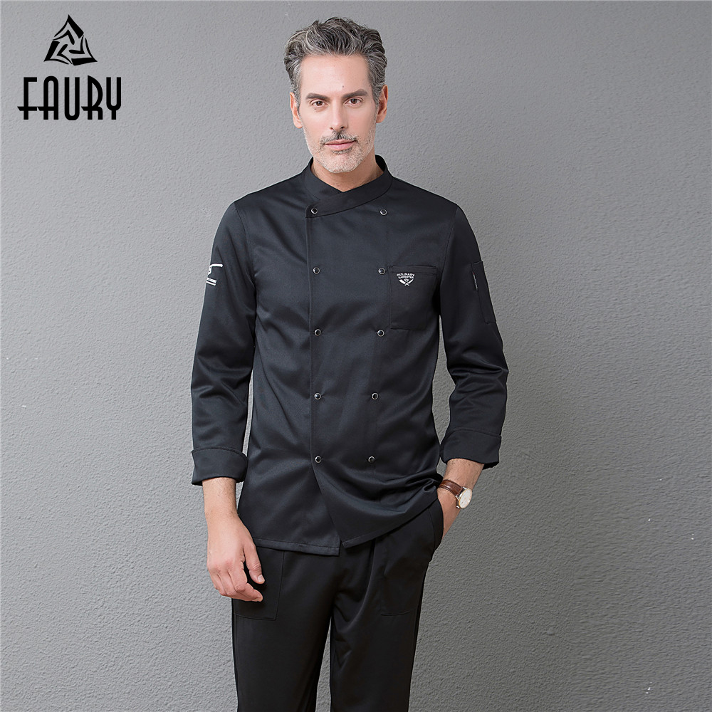Men Professional Chef Restaurant Uniform Embroidery Double Breasted Long Sleeve Cuisine Catering Cocina Kitchen Cook Work Jacket