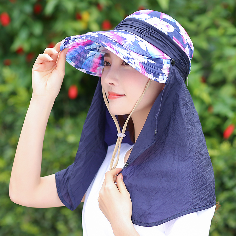 Summer Female Foldable Hat Anti-UV Cycling Caps Wild Outdoor Adjustable Sun Hats Cover Face Hat For Womens