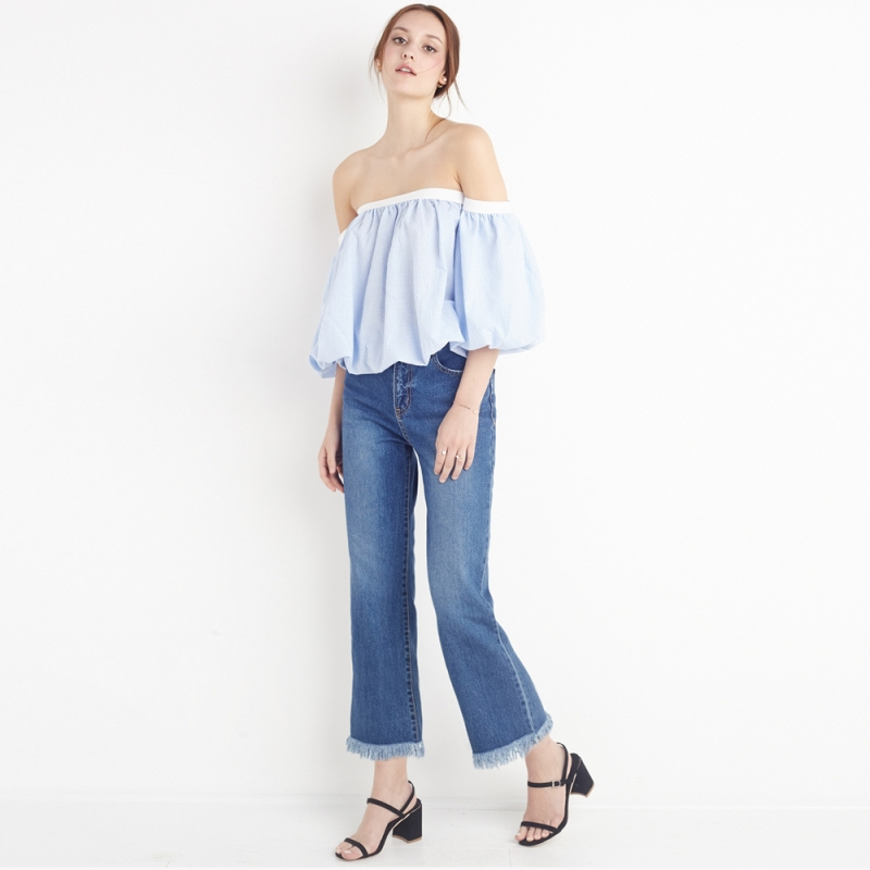 HDY Haoduoyi Fashion Plaid Backless Tops Women Half Sleeve Off Shoulder Female Pullover Tops Elegant Ruffles Slim Blouses Shirts 5