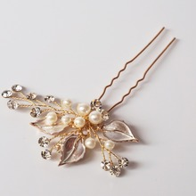 Charm Pearl Crystal  Wedding Hair Pin Handmade Leaf Bridal Headpiece Hair Accessories For Brides Party Prom Headwear Silver/Gold
