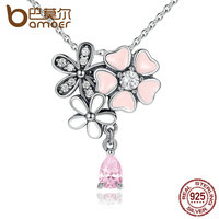 BAMOER Classic Necklace 925 Sterling Silver Pink Heart Blossom Cherry Flower 45CM Pendants Necklaces Women Fine
