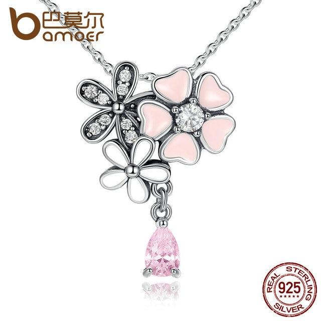 BAMOER 925 Sterling Silver Pink Heart Blossom Cherry Flower 45CM Pendants & Neck