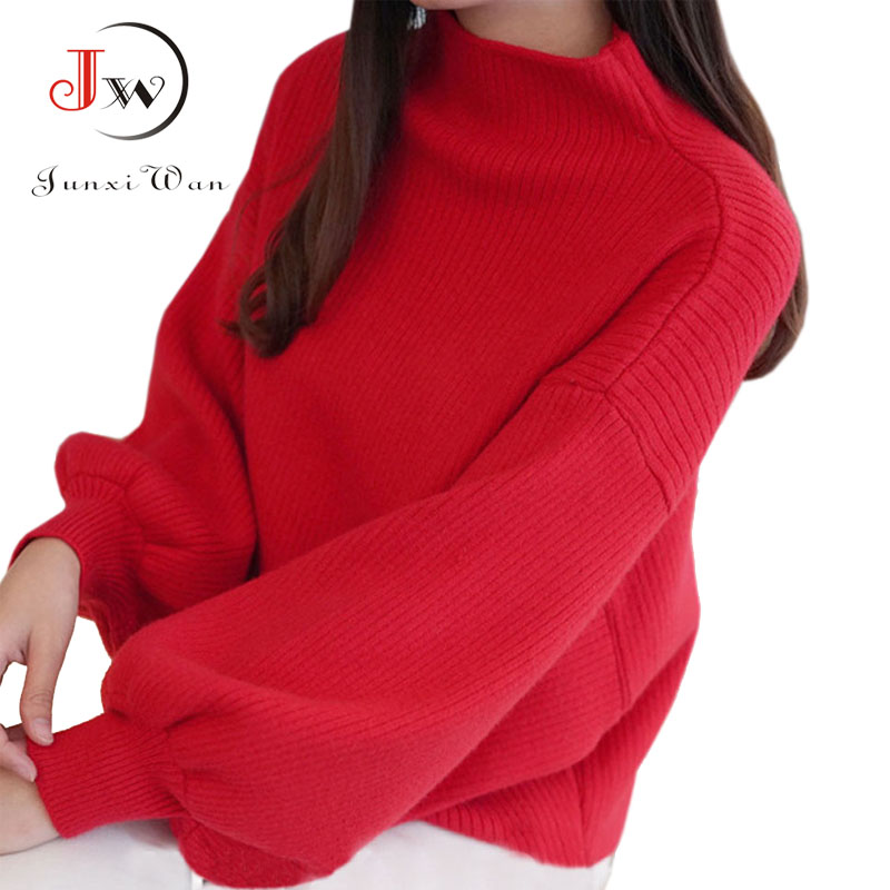 2019 New Winter Women Sweater Fashion Turtleneck Lantern Sleeve Pullovers Loose Knitted Sweaters Female Jumper Tops Pull Femme