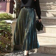 Female Skirts Summer A-Line-Pleated Vintage High-Waist Korobov 76873 Spring Shiny Preppy-Style