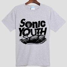 Sonic Youth Футболки Мужчины Хлопок Человек майка Шею O Короткий Рукав Новый Мужской Футболки