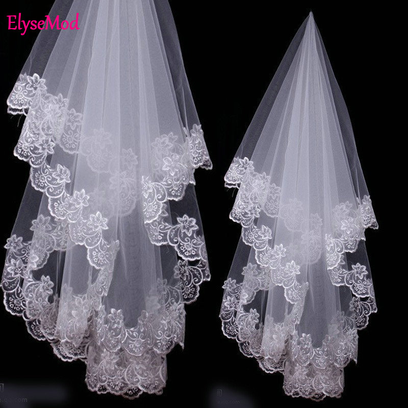 Velo De Novia Ivory One Layer 1.2 Meter Bridal Veil 2018 Beautiful Wedding Accessories Appliques Ivory Wedding Veils