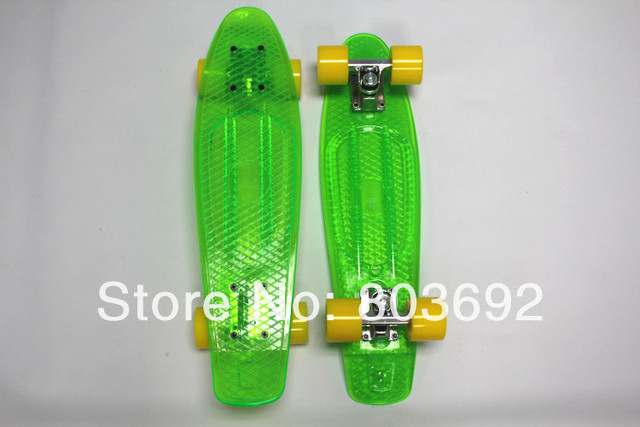Free Shipping 22'' Transparent Plastic Skateboard Green 2013 Hot Sales