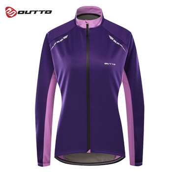 Outto Women's Thermal Fleece Cycling Jacket Windproof Warm Outdoor Sport Downhill Riding Winter Bicycle Jersey