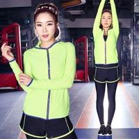 New Female Sports Zipper Coat Female Yoga Sets Fitness Wear Long Sleeved Gym Jogging Suit Wholesale