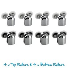 Replacement Shower Door Fixing Wheels in Chrome – 4x Top & 4x Bottom – Fits Glass 6-8mm