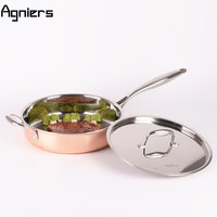 Agniers 26cm Multi Ply Clad Copper Frying Pan With Ears Covered Cooking Tools 10 Inch Saute