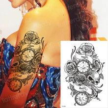 0d9c2db06 temporary tattoo sleeves rose cross sticker tatoo halloween tattoo decal  water tatto compass black fake tattoos leg arm thigh