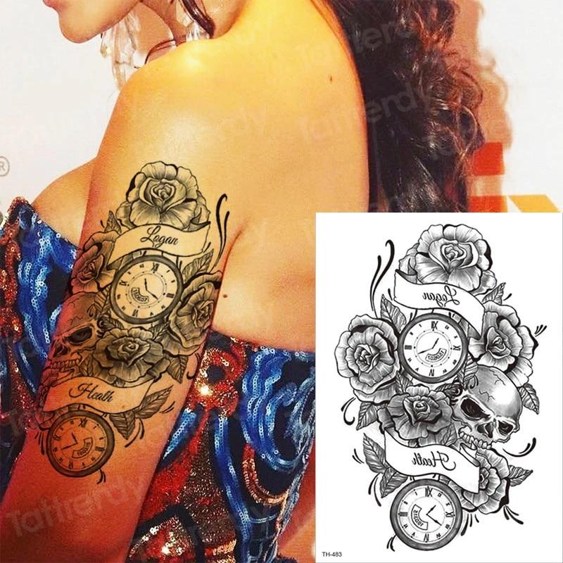 Halloween Tattoos.Temporary Tattoo Sleeves Rose Cross Sticker Tatoo Halloween Tattoo Decal Water Tatto Compass Black Fake Tattoos Leg Arm Thigh Temporary Tattoos Aliexpress