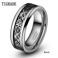 TIGRADE 8mm Men Tungsten Carbide Ring Wedding Band Silver Celtic Dragon Inlay Polished Finish Edge Fashion
