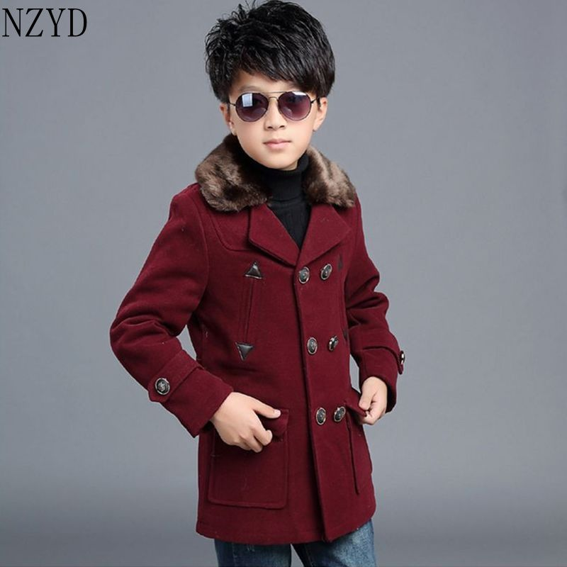 ФОТО Nova Fashion Winter Boys Coat Double-Breasted Square Collar Long-Sleeved Coat Pure Color Thicken Children Leisure Coat HL0121