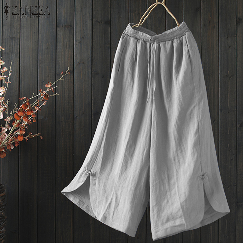 S 5XL 2018 ZANZEA Retro Elastic Wasit Pockets Split Trousers Summer Solid Cotton Linen Pantalon Women Casual Long   Wide     Leg     Pants