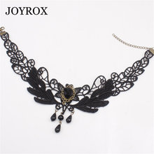 JOYROX Vintage Black Lace Women Choker Necklace Trendy Gothic Hollow Collar Jewellery Steam Punk Chocker Jewelry