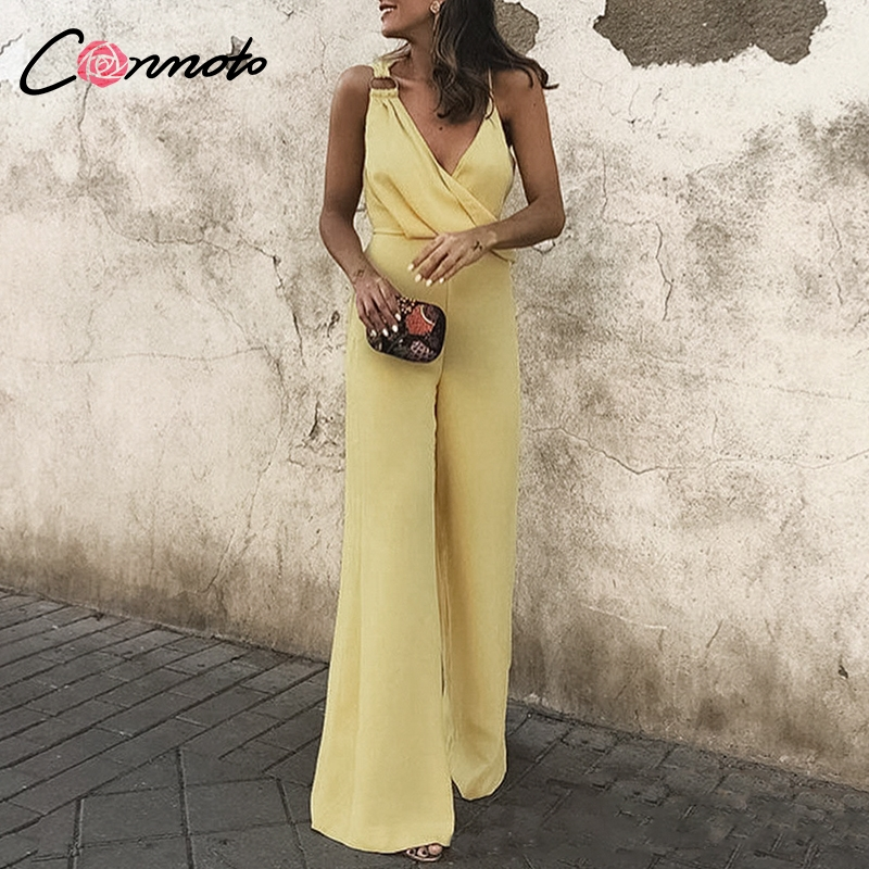 Conmoto Women   Jumpsuits   Romper Casual Summer 2019   Jumpsuit   Solid Yellow Sexy Spaghetti Strap   Jumpsuits