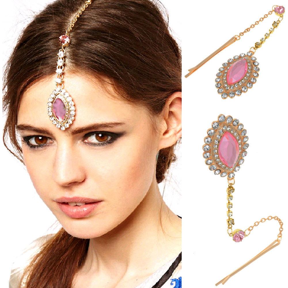 lady party wedding flower crystal bindi hair tikka clip