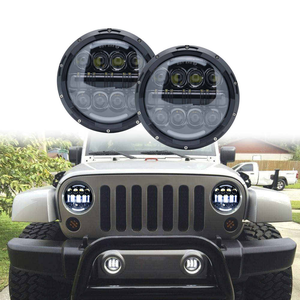 7inch Round Led Headlight With Halo & DRL &Turn light For Jeep suzuki samurai 7LED DRL Halo Headlights For lada niva 4x4 Truck