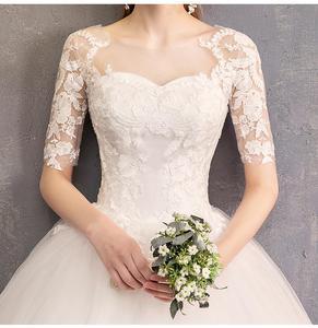 Image 5 - New Arrival EZKUNTZA pełna rękaw suknia ślubna 2019 suknia balowa Flare rękawem księżniczka proste suknie ślubne chiny suknie ślubne