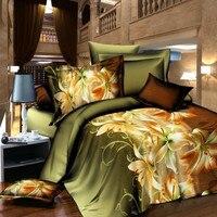 Lüks çiçek yorgan seti 4 adet 3d yatak setleri hiçbir yorgan seti yatak örtüsü nevresim çarşaf yastık set kraliçe boyutu