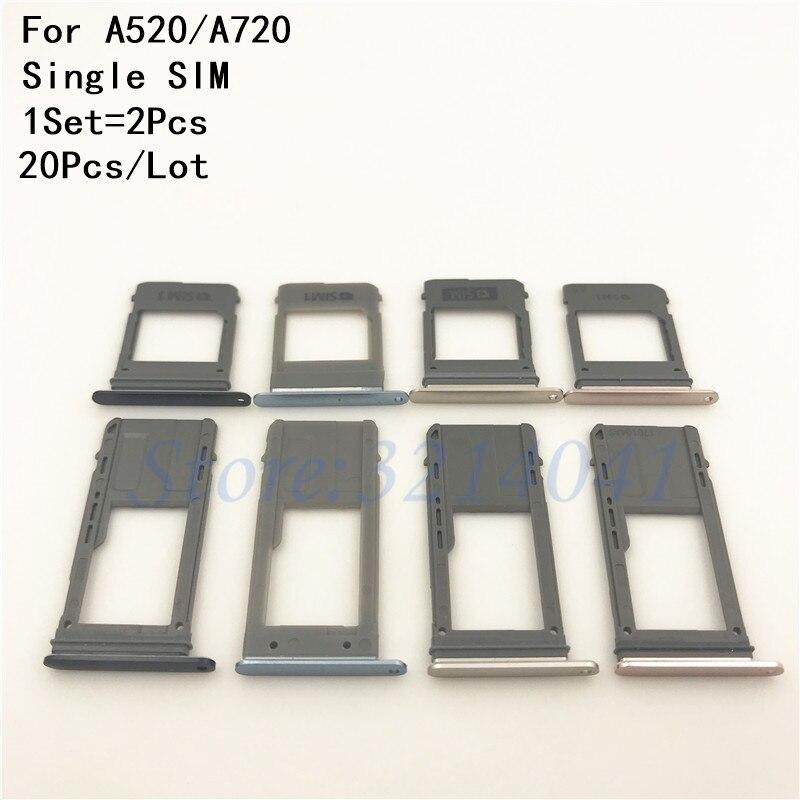 20Pcs/Lot Single & Dual SIM Card Tray Slot Micro SD Card Tray Holder Adapter Spare Parts For Samsung Galaxy A520 A720 A5/A7 2017